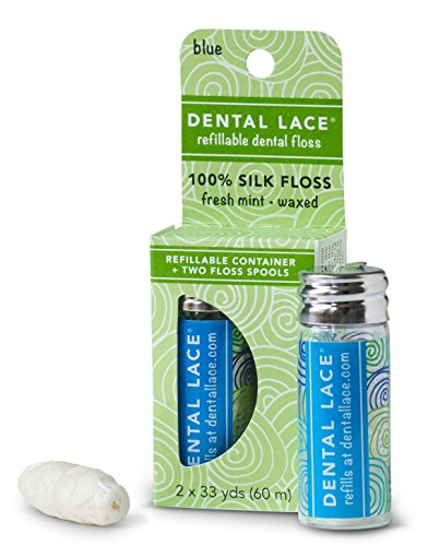 Dental Lace| Silk Dental Floss with Natural Mint Flavoring | Includes 1 Refillable Recyclable Blue Dispenser and 2 Floss Spools| 66 yards
