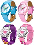 Tatuo 4 Pieces Watches for Teenager Cute Cartoon Wrist Watch 3D Silicone Band assorted Dial Watch