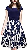 Merope J Womens Floral Patchwork Classy Vintage Party Dress (S, Navy)