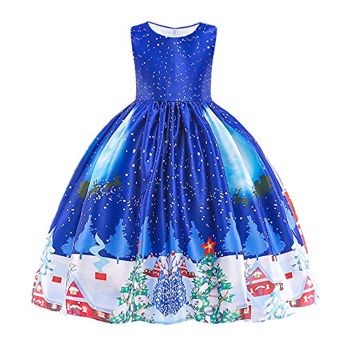 HUAANIUE Girls Dress Christmas Eve Xmas Snow Holiday Party Dresses Blue 3-4 T