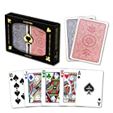 Copag 4-Color Dual Deck Set - Red/Blue, Poker Size, Regular Index - 100% Plastic Playing Cards with Protective Display Case