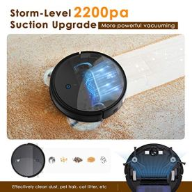 Hosome-Robot-Vacuum-Cleaner-and-Mop-2200Pa-Wi-Fi-Robotic-Vacuum-27-Super-Thin-Self-Charging-Quiet-with-Boundary-Strip-Compatible-with-Alexa-for-Pet-HairHard-FloorLow-Pile-Carpet