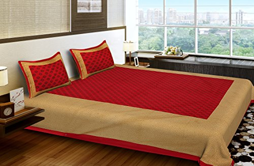 51vYgrTYtlL - BhagwatiUdyog King Size Block Print Double Bedsheet Cotton with Pillow Cover