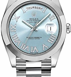 255fa5324 Men's Rolex Day-Date Platinum 41mm Watch with Diamond Roman Numeral Hour  Markers – Ref # 218206