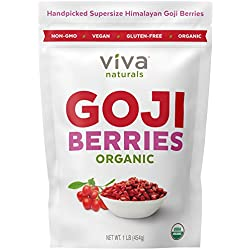 Viva Naturals Premium Himalayan Organic Goji Berries, Noticeably Larger and Juicier, 1lb bag