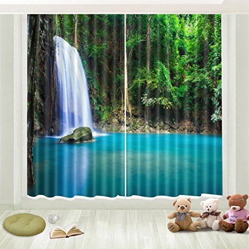LB 3D Blackout Curtains for Bedroom and Living Room, 2 Panels Window Curtains with Image of Peaceful Green Asian Woods and Waterfall 60X65.5 Inches