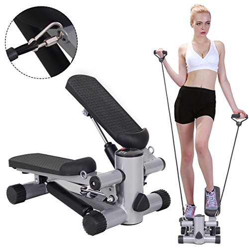 Goplus Step Air Climber Stepper Twister Aerobic Fitness Exercise Machine w/Resistance Band