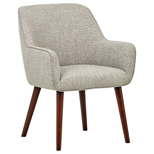 """Amazon Brand – Rivet Julie Mid-Century Modern Dining Room Accent Chair with Arms, 32""""H, Light Grey 1"""