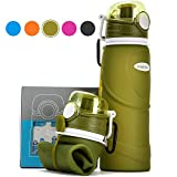Collapsible Water Bottle 750ml / 26 fl oz (Reusable Foldable Silicone) Travel Bottle (Vacuum Sealed Leak Proof Valve) Sports Camping Hiking Gym Fitness Training Bottle (BPA Free / Non-Toxic) (Green)