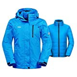 Wantdo Women's Thick 3-in-1 Ski Jacket Interchange Raincoat Hooded Mountain Winter Parka with Detachable Puffer Liner Daily Wear(Blue, XX-Large)