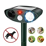 Humutan Ultrasonic Dog Repellent, Outdoor Solar Powered and Weatherproof Ultrasonic Pest Repeller, Cat Repellent with Motion Sensor and Flashing Lights for Cats, Dogs, Birds and Skunks and More