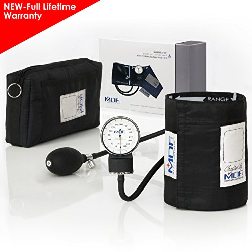 MDF Calibra Aneroid Premium Professional Sphygmomanometer - Blood Pressure Monitor with Adult Cuff & Carrying Case - Full Lifetime Warranty & Free-Parts-For-Life - Black (MDF808M-11)