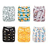 Babygoal Baby Cloth Diapers for Boys and Girls, Washable Reusable Pocket Nappy, Baby Shower Gift, 6pcs Diapers+6pcs Microfiber Inserts+4pcs Bamboo Inserts 6FN06
