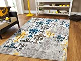 Faded Style Luxury Rugs for Bedroom for Teens Modern Rugs 5x7 Contemporary Rug 5x8 Kitchen Rugs with Blue Grey Brown Yellow 5x7 Rugs for Living Room Under 50, 5x8 Rug