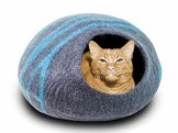 MEOWFIA-Premium-Felt-Cat-Cave-Bed-Large-Eco-Friendly-100-Merino-Wool-Bed-for-Large-Cats-and-Kittens-AsphaltAquamarine