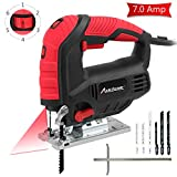Jigsaw, Avid Power 7.0A 3000 SPM Jig Saw with Laser Guide, Variable Speed, Bevel Angle (0°-45°), 6PCS Blades and Scale Ruler