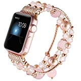 GAISHI Compatible for Apple Watch Band 38mm 40mm, Women Girl Elastic Stretch Handmade Pearl Bracelet iWatch Band for 38mm Apple Watch Series 4 Series 3 Series 2 Series 1, Pink