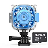 AKAMATE Kids Action Camera Waterproof Video Digital Children Cam 1080P HD Sports Camera Camcorder for Boys Girls, Build-in 3 Games, 32GB SD Card (Blue)