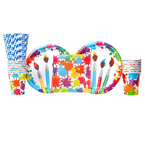 Cedar Crate Market Art Party Supplies Pack Bundle for 16 Guests: Straws, Dinner Plates, Luncheon Napkins, and Cups