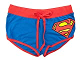 Superman Front Tie Juniors Blue Booty Shorts | L