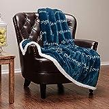 Chanasya Harmony Hope Blessing Peace Message Print Super Soft Plush Microfiber Fleece Sherpa Violet Blue Gift Throw Blanket - Inspirational Uplifting Gift for Men Women Friend - Blue Blanket