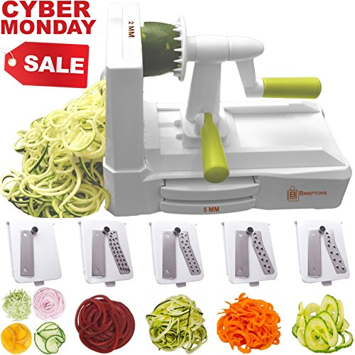 Brieftons 5-Blade Spiralizer (BR-5B-02): Strongest-and