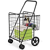 Goplus Folding Shopping Cart Jumbo Double Basket Perfect for Grocery Laundry Book Luggage Travel with Swivel Wheels Utility Cart (Black L)