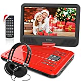 12.5 Inch Portable DVD Player with 4 Hour Rechargeable Battery,10.5' Swivel Screen, USB/SD Slot (RED)