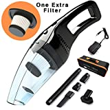 Attom Tech Cordless Handheld Vacuum Cleaner Rechargable 120W Strong Suction Car Cleaner Wet and Dry Portable for Car Auto Home Kitchen with Easy Washable Filter, Cleaning Brushes(Black)