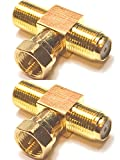 CESS F-Type TV Connector Male to 2 Female Extension Splitter Adapter - F Male to F Dual Female (rel) (2 Pack)