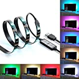 Bias Lighting TV Backlight for HDTV LED Strips Led Lights Multi Color RGB LED Neon Accent TV Lighting for 32-Inch to 65-Inch Flat Screen TV Accessories, Desktop PC