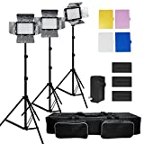 Julius Studio 3x 216 Barndoor Continuous LED Video Lighting kit Dimmable Panel Camera, for Canon, Nikon, Sony and DSLR Cameras, Li-Ion Battery and Charger,Color Filters,Premium Carry Bag, JSAG159