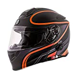 TORC Unisex-Adult Flip-Up Motorcycle Helmet Matte Black Orange LARGE