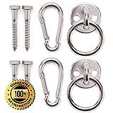 Amerigo Premium Hammock Hooks - Hammock Hanging Kit 600 LB Capacity - Hammock Hanger Heavy Duty - Hammock Hardware - Set of Round Pad Eyes, Spring Snap Hooks + Screws for Your Perfect Experience!