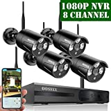 【2020 Update】 OOSSXX HD 1080P 8-Channel Wireless Security Camera System,4 pcs 720P 1.0 Megapixel Wireless Weatherproof Bullet IP Cameras,Plug Play,70FT Night Vision,P2P,App, No Hard Drive