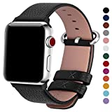 Fullmosa Compatible Apple Watch Band 38mm 40mm 42mm 44mm Calf Leather Compatible iWatch Band/Strap Compatible Apple Watch Series 4 Series 3 Series 2 Series 1,38mm 40mm Black