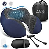 OYRGCIK Travel Pillow, 100% Pure Memory Foam Neck Pillow, Soft & Breathable Cotton Cover, Machine Washable Airplane Travel Kit U Shaped Pillow with 3D Contoured Eye Mask, Earplugs, Travel Bag, Blue