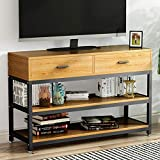 LITTLE TREE Rustic Country Style TV Stand, Console Table with Two-Drawer, Solid ParticleBoard Finish with Metal Legs, Oak