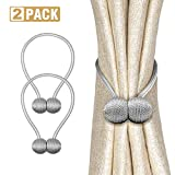 Magnetic Curtain Tiebacks, Curtain Holdbacks 2 Pack 16 inch Modern Decorative Window Curtain Tie Band for Home Office Window Sheer Thin Thick Draperies(Grey)
