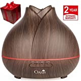 OASIS Essential Oil Diffuser (400ml) - Best Rated Aromatherapy Diffuser - Cool Mist Humidifier with Adjustable Mist Mode and 7 Color Changing LED Lights - Ultrasonic Humidifier Dark Wood Grain