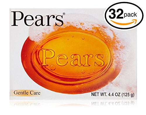 Pears Oil-Clear Soap Each Bar 4.4 Oz (Pack of 32 Bars (100gm Each Bar), Transparent Original Soap)