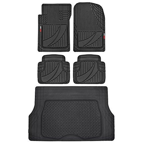 FlexTough Advanced Performance Liners - 5pc HD Rubber Floor Mats & Cargo Liner for Car SUV Auto (Black)