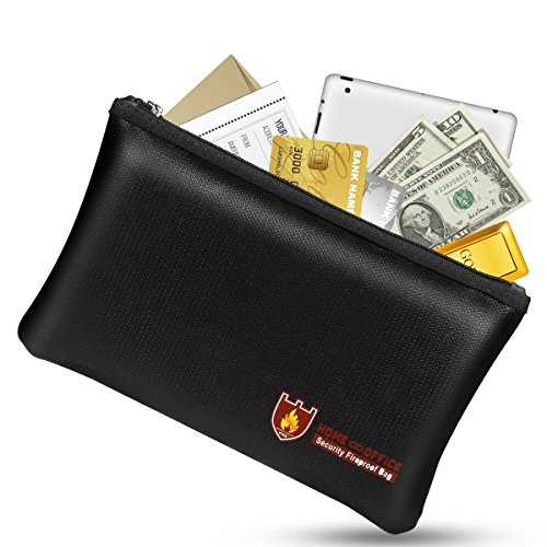 Fireproof Money Safe Document Bag. NON-ITCHY Silicone Coated Fire & Water Resistant Safe Cash Bag. Fireproof Safe Storage for A5 Size File Folder Holder, Money, Document, Ipad, Jewelry and Passport