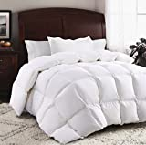 ROSECOSE Luxurious Goose Down Comforter King Size Duvet Insert All Seasons Solid White Hypo-allergenic 1200 Thread Count 750+ Fill Power 100% Cotton Shell Down Proof with Tabs (King, White)