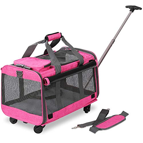 KOPEKS Pet Carrier with Detachable Wheels for Small and Medium Dogs & Cats - Heather Pink 1
