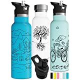 Double Insulated Water Bottle with Straw Lid Stainless Steel Thermos Sports Cap BPA Free Eco Friendly Non Sweat Durable Finish Metal Hydro Powder Coated 750ml (25 oz, Mint)