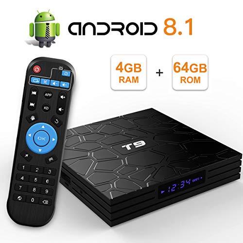 Sidiwen Android 8.1 TV Box T9 4GB Ram 64GB ROM RK3328 Quad-core Cortex-A53 2.4Ghz 5.0Ghz WiFi Bluetooth 4.1 Ethernet USB 3.0 Support 3D 4K2K Ultra HD H.265 Smart Set Top Box