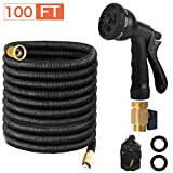 Page Hodge Expandable Garden Hose, 100 FT Flexible Water Hose, Triple Layered Latex Core & 8 Patterns Spray Nozzle for Home & Heavy Duty Commercial Use(100 Feet)