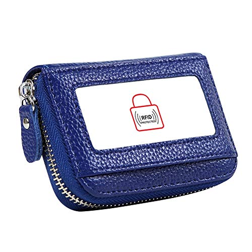 Women's RFID Blocking 12 Slots Credit Card Holder Leather Accordion Wallet,blue