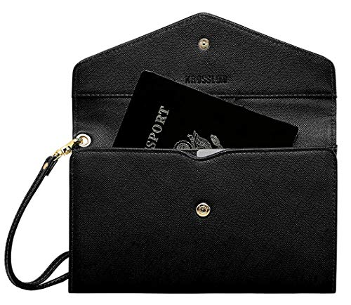Krosslon Travel Passport Wallet for Women Rfid Wristlet Slim Family Document Holder, 1# Black